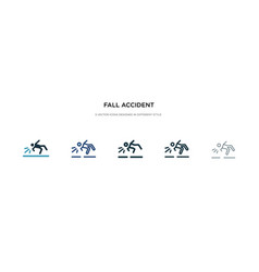 Fall accident icon in different style two vector
