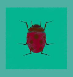 Flat shading style insect ladybug vector