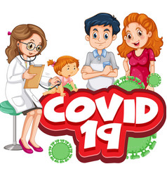 Font design for word covid 19 with family doing vector