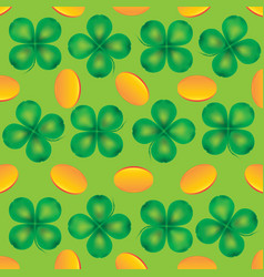 four leaf clover and coins vector image