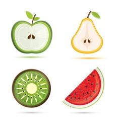 Fruit set pear apple watermelon kiwi vector