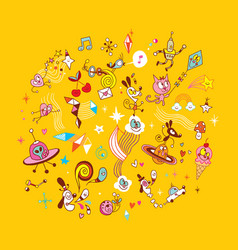 fun cartoon characters group design elements vector image
