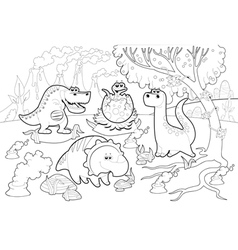 Funny dinosaurs in a prehistoric landscape black vector