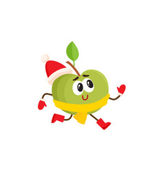 funny green apple character in warm winter clothes vector image