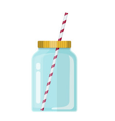 glass mason jar for cocktail vector image
