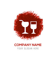 Glass of drink icon - red watercolor circle splash vector
