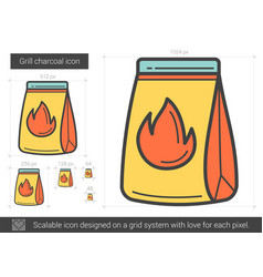 grill charcoal line icon vector image