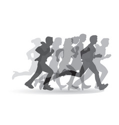 Group people business running monochrome vector