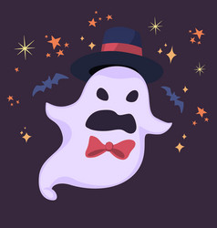 halloween ghost in hat with scary face vector image