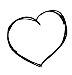 hand drawn heart Isolateddoodle vector image