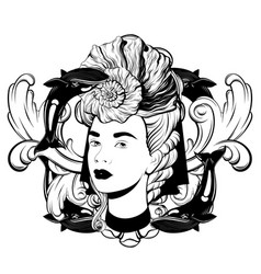 hand drawn pretty woman isolated vector image