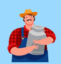 happy farmer holding a big milk can dairy farm vector image