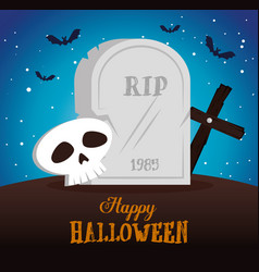 happy halloween card with cemetery scene vector image