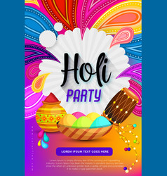 Happy holi festival poster design vector