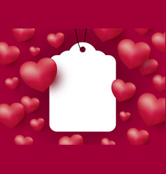 hearts with blank white tag on red background vector image