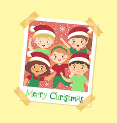 instant photo frame cute kids christmas vector image