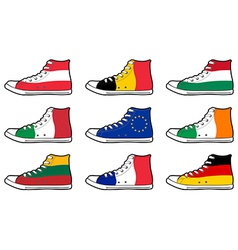 isolated modern sneakers with Europe Union flags vector image