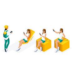 isometry is a set of girls for creating summer vector image