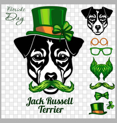 Jack russell terrier dog and design elements st vector