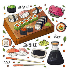 japan sushi and rolls sets on white background vector image