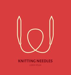 Knit shop line logo yarn store flat sign vector