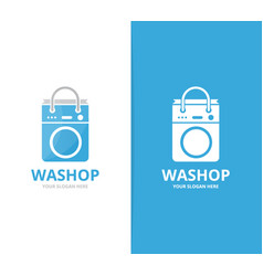 Laundry and bag logo combination vector