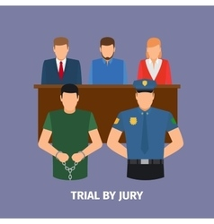 Law concept with jury trial vector
