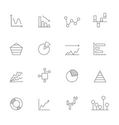 linear icons of charts business icons set isolate vector image