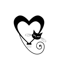 Love cat silhouette for your design vector image