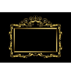 Luxury gold frame on black background vector image