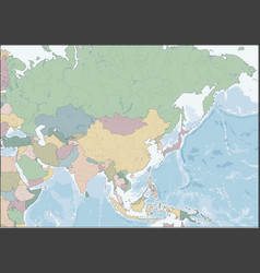map asia continent with countries vector image
