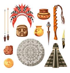 maya civilization culture icon set vector image