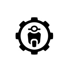 motorcycle combined with gear symbol logo vector image