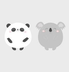 Panda koala bear round icon set black and white vector