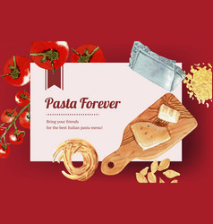 Pasta frame design with cheese cutting board vector