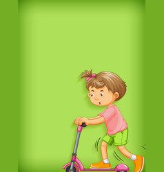 Plain background with girl playing scooter vector