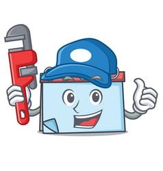 Plumber calendar mascot cartoon style vector