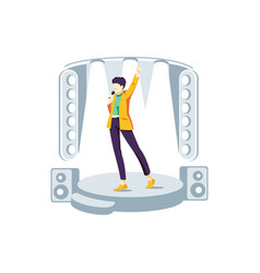 Popular singer performing on stage vector