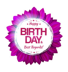 Purple birthday floral emblem vector