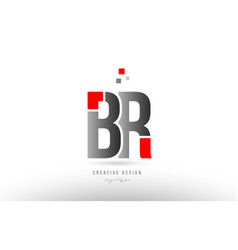 Red grey alphabet letter br b r logo combination vector