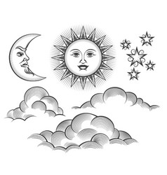 Retro engraved moon sun celestial faces vector