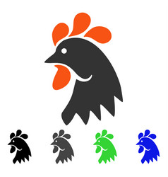 Rooster head flat icon vector