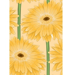 seamless background with yellow gerbera vector image