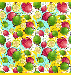 Seamless pattern kumquat fruits exotic ornament vector