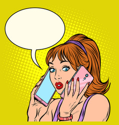 serious woman talking on two phones at same vector image