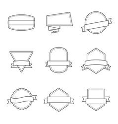 set badges outlined black and white - vol 3 vector image