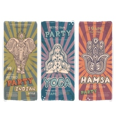 set banners with ethnic and yoga symbols vector image