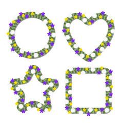 set green floral frames vector image