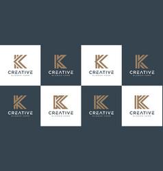 Set initials letter k abstract logo design vector