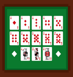 set of poker playing cards of diamond suit on vector image
